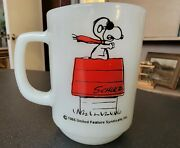 Vintage Fire King Cup Snoopy Mug Curse You Red Baron Anchor Hocking 1965 Exc+
