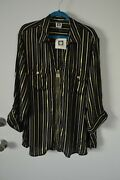 99 New Anne Klein Chic Shirt Zip Blouse Top Black Combo Stripped Plus Size 2x