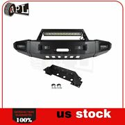 Bulkier Black Front Bumper Guard W/ Leds Winch Plate D-rings For Chevy Silverado