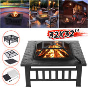 32 Fire Pit Bbq Square Table Patio Backyard Garden Stove Wood Burning Fireplac