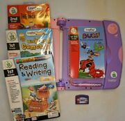 2001 Leapfrog Leappad Learning Game System Lot 30003 Purple Pink Books Cartridge