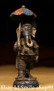 Pure Bronze Painting Hand Carved Elephant Mammon Four Arms God Of Wealth Buddha