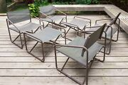 Brown Jordan Nomad Folding Patio Director Chairs And Ottomans Set