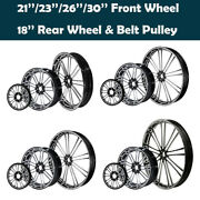 21and039and039/23and039and039/26and039and039/30and039and039 Front Wheel And 18and039and039 Rear Wheel Hub Belt Pulley Fit For Harley
