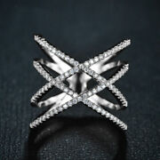 Ring Silver Art Deco Mesh Lacework Cz Bright Vintage Marriage T56 G3 78