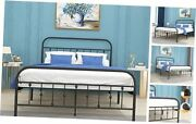 Metal Bed Frame Queen Size With Vintage Headboard And Footboard, Sturdy