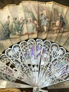 Antique French Carved Mother Of Pearl Hand Painted Paper Scene Fan Artist Sign