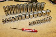 Blue Point 3/8 And 1/4 Drive Deep And Shallow Lot Of 4 Sockets Set 34pc