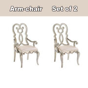 Dining Room Velvet Queen Anne Back Arm Chair Ivory / Antique Champagne 2 Sets