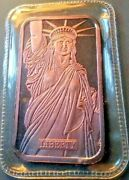 Mtb Statue Of Liberty 1 Troy Ounce .999 Fine Silver Bar With Coa Free Shipping