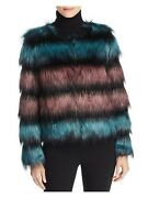 Unreal Fur Womens Teal Faux Fur Pocketed Lined Striped Puffer Jacket Size L