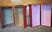 Lot Of 2 Vintage Red And Blue Metal Doll Case Wardrobe Closet Trunk