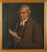 Rare Antique 19th Century Portrait Painting Of A Man With Music