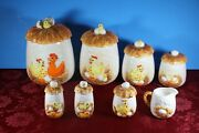Vtg '76 Sears Roebuck Chicken Little 4 Pc Canisters, Salt And Pepper, Sugar And Crea