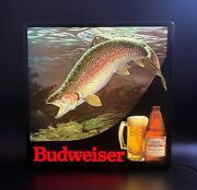 Vintage 1980s Budweiser Rainbow Trout In Motion Lighted Beer Sign - Rare