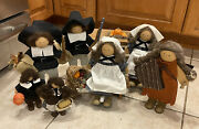 Lot Of Retired Lizzie High Wood Dolls Thanksgiving Pilgrim Indian Boy And Girl Set
