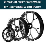21/23/26/30and039and039 Front 18and039and039 Rear Wheel Hub Rim W/ Belt Pulley Fit For Touring 08-21