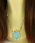 Vintage Diamonds Carved Turquoise Cameo Pendant And Chain Necklace In 18k Ygold
