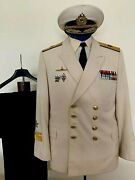 Vintage 1960-70and039s Ussr Soviet Russian Navy Admiral Summer Service Uniform And Cap