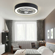 Modern Ceiling Fan Led Light Remote Control Round Chandelier Lamp Time Setting