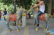 Huge Old China Fengshui Bronze Cloisonne Gilt Dragon Pattern Horse Lucky Statue
