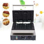 Commercial Electric Hot Dog Waffle Maker Baker Machine 4 Grooves Stainless Steel