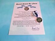 Us Air Force Combat Action Medal Certificate And Full Size Medal With Ribbon