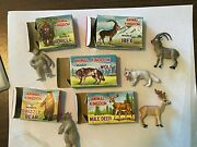 Marx Animal Kingdom X5 Wolf Mule Deer Ibex Gorilla Grizzly Bear  With Boxes