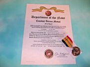 United States Marine Corps Combat Action Medal Certificate And Medal