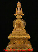 17and039and039 Old Tibet Buddhism Crystal Gilt Carved Totem King Kong Relic Buddha Tower