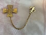 Vintage Surfers Cross Fleur Delis Brooch Pin And Tac Brass Color Metal 1.75 Tall