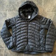 Womenand039s Goose Down Sweater Full Zip Up Hoody Black Puffer Jacket Sz L