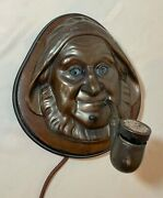 Antique 1900and039s Bronze Cigar Store Figural Fisherman Smoking Pipe Lighter Lamp