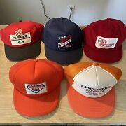 Vintage Seed Hat Lot Trucker Mesh Corduroy K Products Made In Usa 80s 70s