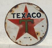1940and039s Rare Texaco Motor Oil Round Gas Oil Station Porcelain Enamel Sign Board