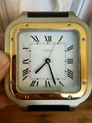 Santos Stainless / Gold Alarm Clock Red Box And Tag