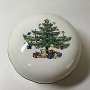 Vintage Nikko Christmas Candy Dish With Lid Christmas Tree And Presents 4andrdquo X 2.5andrdquo