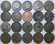 20 Indian Head Cent/penny-lot Culls/20 Junk Coins Free Shipping 25j