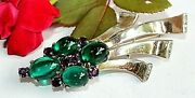 Crown Trifari Alfred Philippe Sterling Silver Gripoix Moghul Jeweled Brooch Bd26
