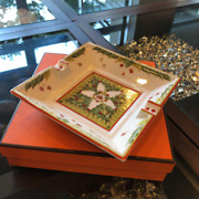 Hermes Tray Ashtray Plate Tree Nut Pattern White X Green X Red New