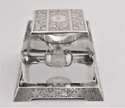 Antique Inkwell Sterling Silver Lid And Stand By Wm B. Kerr