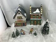 Department 56 Dickens Village Series 2 Houses With Trees And Figures No Lights