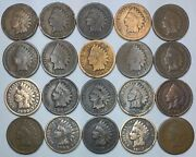 20 Indian Head Cent/penny-lot Culls/20 Junk Coins Free Shipping 25h