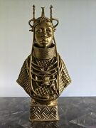 Historical Bini Artwork Bronze Statue Antique Oba Bust. Only 1 Available.andnbsp