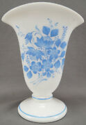 Antique White Bohemian Glass Flared Vase With Hand Enameled Blue Flowers