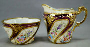 Heufel Dresden Hand Painted Floral Raised Gold And Purple Luster Creamer And Sugar