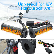 2x 7/8and039and039 Motorcycle Electric Heated Handlebar Grips Warmer Molded Adjustable Us