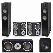 Klh Concord 5.1 Complete System Black With Klh Stratton 10 Powered Subwoofer -