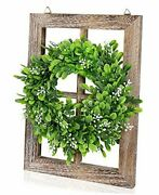 1 Pack Rustic Wood Window Frame With Green Wreath Wall Decor Farmhouse Style 1