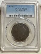 1796 Liherty Draped Bust Large Cent Pcgs Ag03 S-104  Key Variety